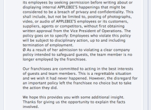 Applebees status 2